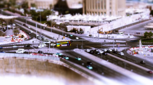 Our model shots inter-cut with with these tilt and shift shots