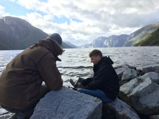 BTS Neil Flaherty, focus puller, and myself in Norway